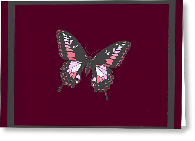 Grey Butterfly Burgundy Violet Background 2 Borders Greeting Card by L Brown