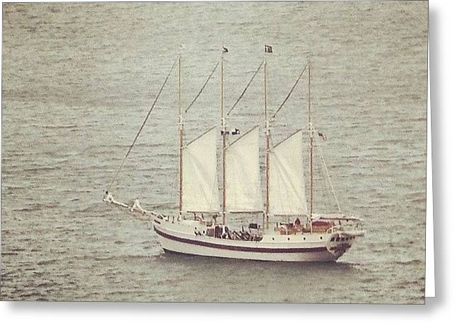 Gray Day And A Tall Ship Greeting Card