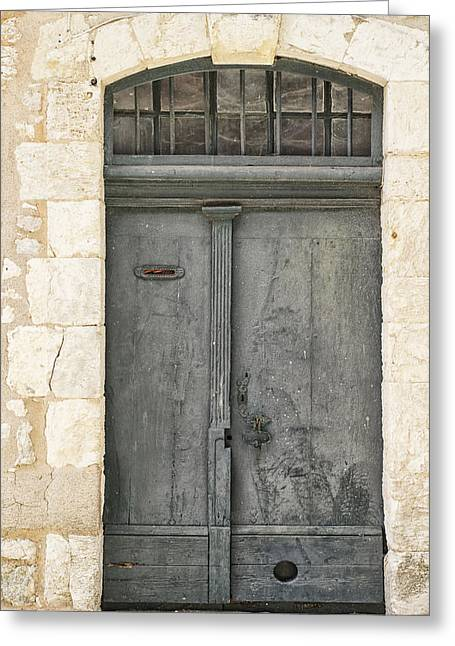 Grey French Door Greeting Card
