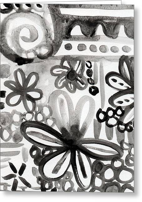 Grey Garden- Abstract Floral Painting Greeting Card by Linda Woods