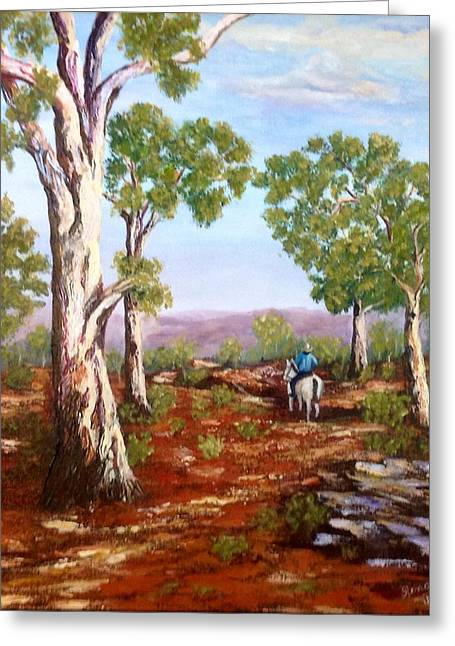 Greeting Card featuring the painting Grey Gums  by Renate Voigt
