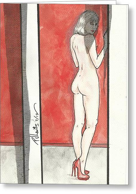 Grey Hair And Red Pumps Greeting Card by P J Lewis