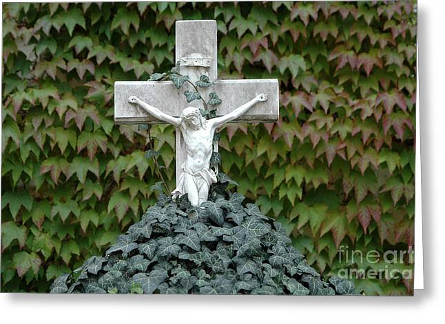 Grey Marmoreal Cross With Trailing Ivy Greeting Card
