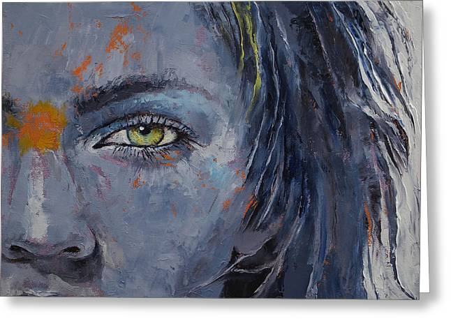 Grey Greeting Card by Michael Creese