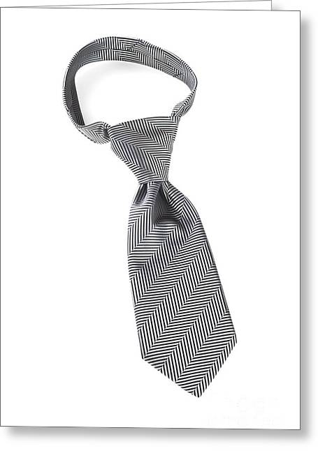 Grey Necktie With Windsor Knot Greeting Card