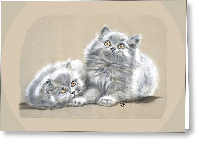 Grey Persian Kittens Greeting Card by Jeanie Beline