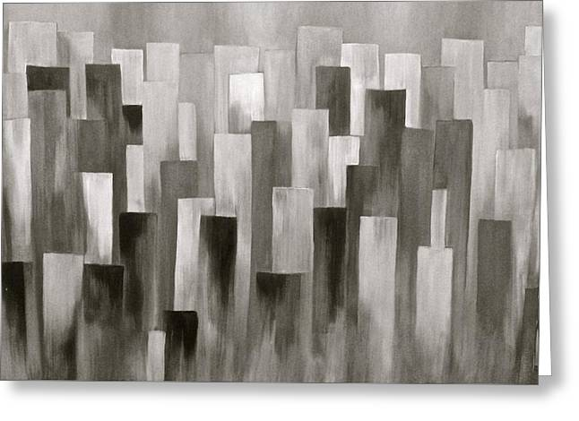 Grey Skyline Greeting Card by J A Cahill