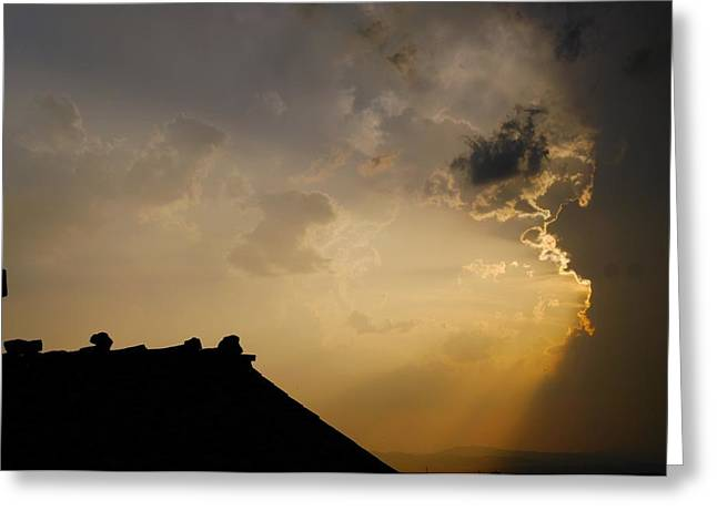 Grey Sunset Over Rooftop Greeting Card