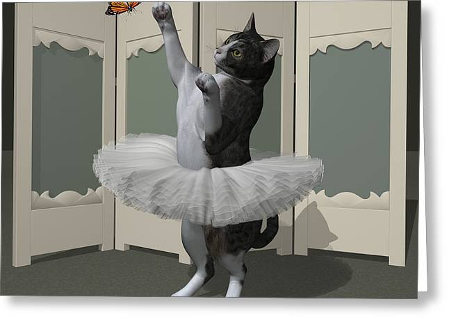 Grey Tabby Ballet Cat On Paw-te Greeting Card by Andre Price