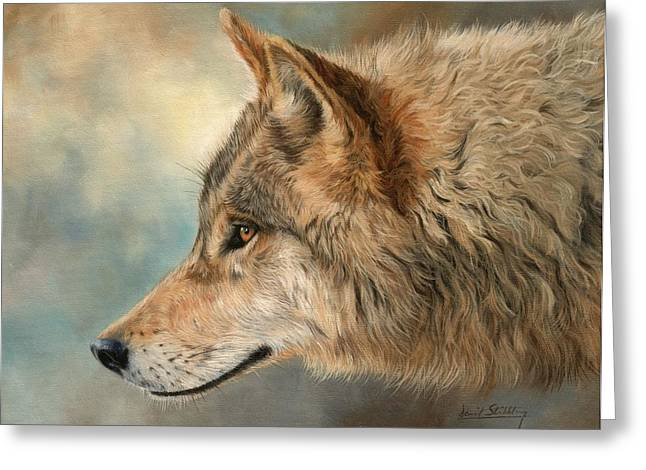 Grey Wolf 3 Greeting Card by David Stribbling