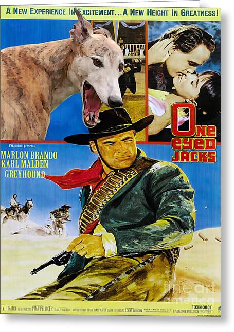 Greyhound Art - One Eyed Jacks Movie Poster Greeting Card