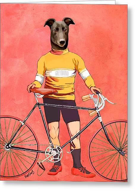 Greyhound Cyclist Greeting Card by Kelly McLaughlan