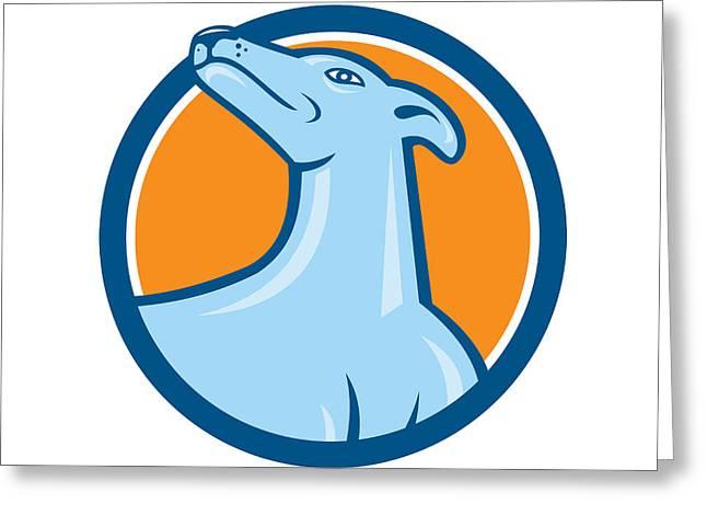 Greyhound Dog Head Looking Up Cartoon Greeting Card by Aloysius Patrimonio
