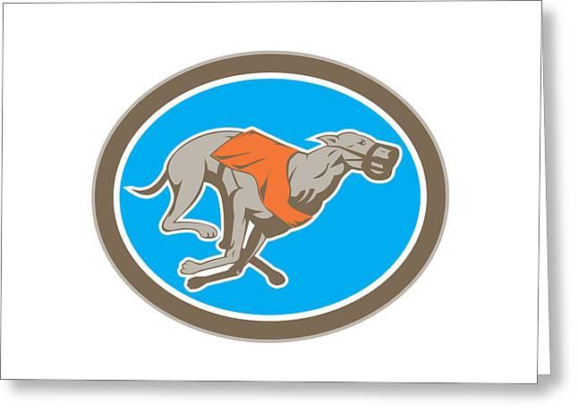 Greyhound Dog Racing Circle Retro Greeting Card by Aloysius Patrimonio