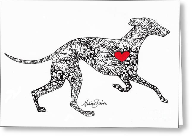 Greeting Card featuring the drawing Greyhound by Melissa Sherbon