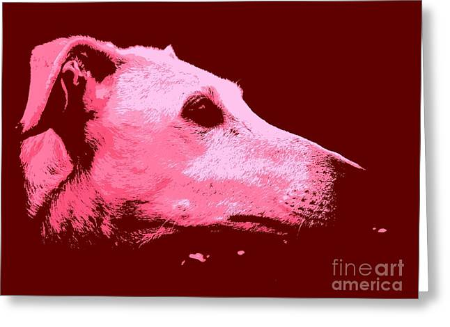 Greyhound Profile Greeting Card by Clare Bevan