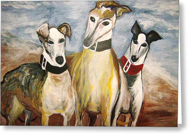 Greyhounds Greeting Card by Leslie Manley