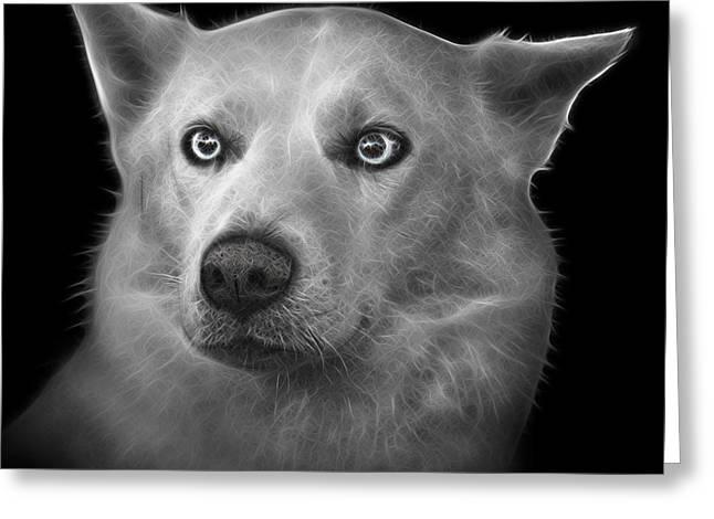 Greyscale Mila - Siberian Husky - 2103 - Bb Greeting Card