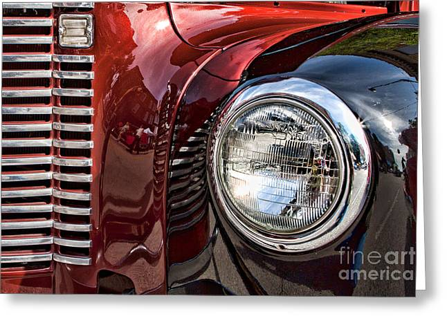 Grill And Headlamp Greeting Card by Lawrence Burry
