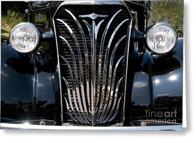 Grill And Headlights Greeting Card by Vivian Christopher
