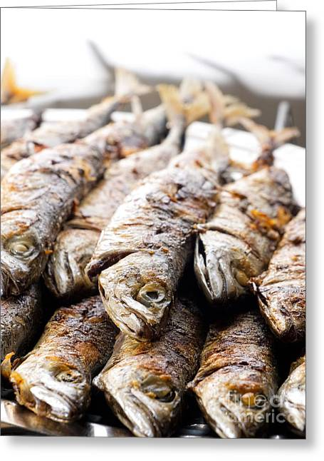 Grilled Fish Greeting Card by Sinisa Botas