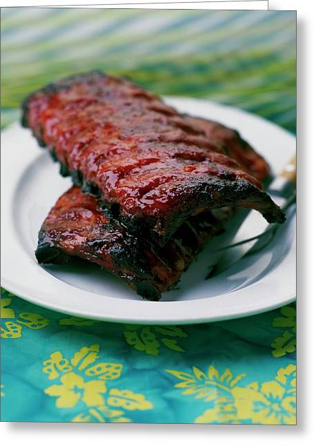 Grilled Ribs On A White Plate Greeting Card