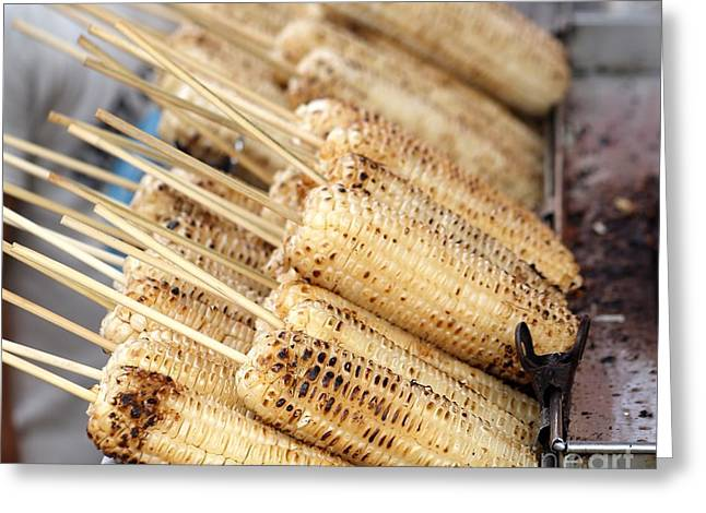 Grilled White Corn Cobs Greeting Card