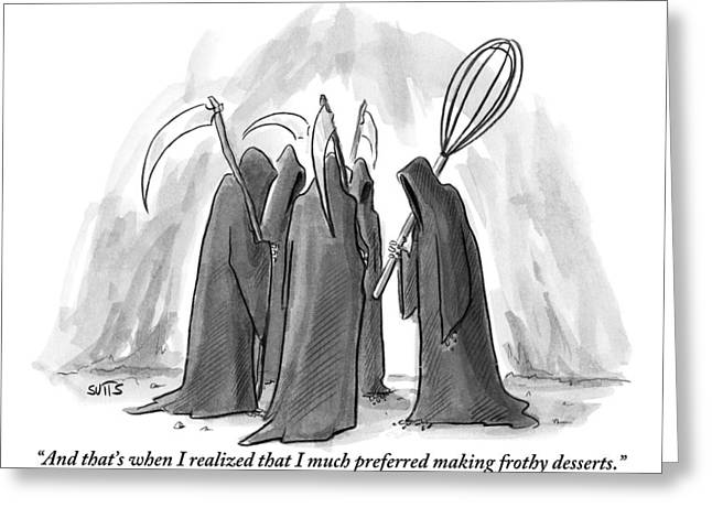 Grim Reapers Stand In A Circle Greeting Card