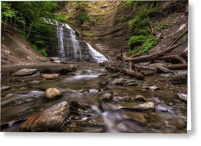 Grimes Glen Second Falls Greeting Card by Mark Papke