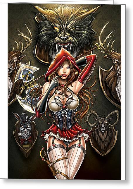 Grimm Myths And Legends 01e - Red Riding Hood Greeting Card