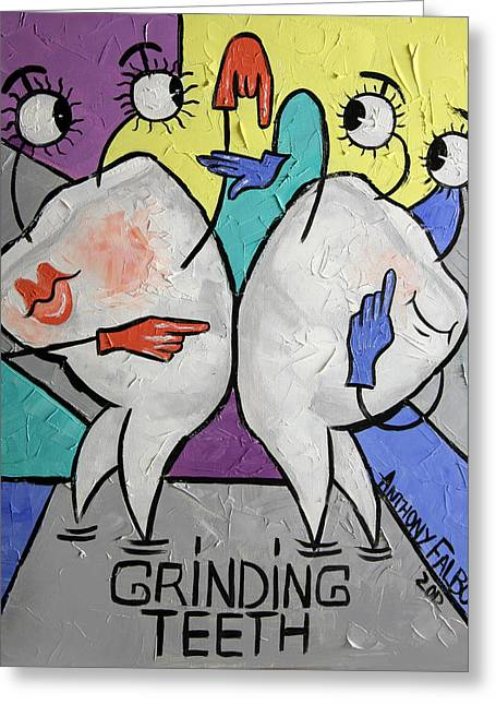 Greeting Card featuring the painting Grinding Teeth by Anthony Falbo