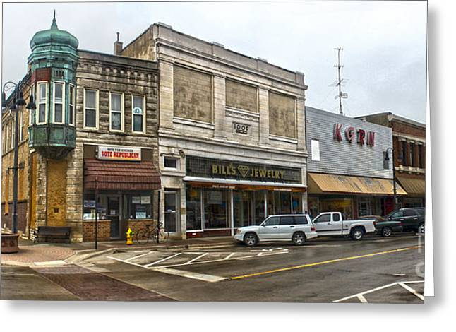 Grinnell Iowa - Downtown - 01 Greeting Card by Gregory Dyer