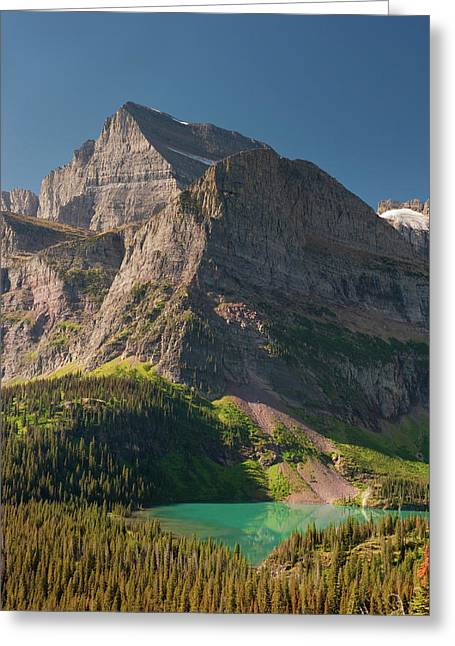 Grinnell Lake And Mount Gould, Glacier Greeting Card by Howie Garber
