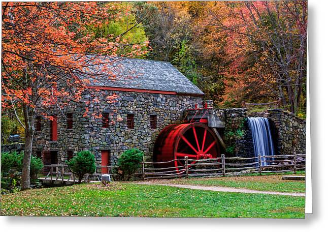 Grist Mill In Autumn Greeting Card by Laura Duhaime