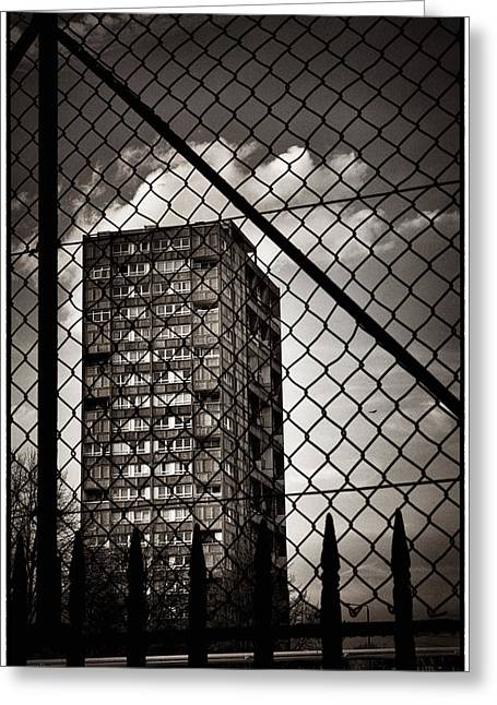 Gritty London Tower Block And Fence - East End London Greeting Card by Lenny Carter