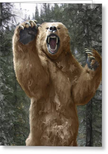 Grizzly Bear Attack On The Trail Greeting Card by Daniel Hagerman
