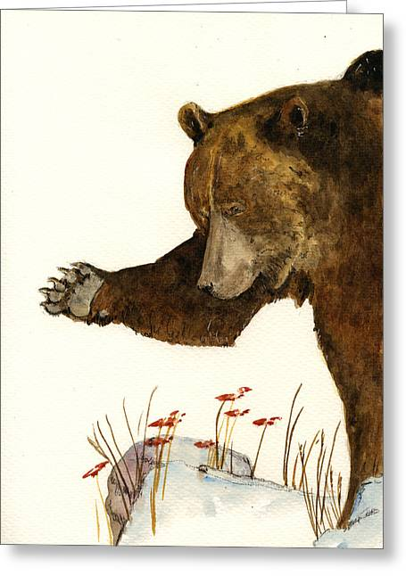 Grizzly Bear First Part Greeting Card by Juan  Bosco