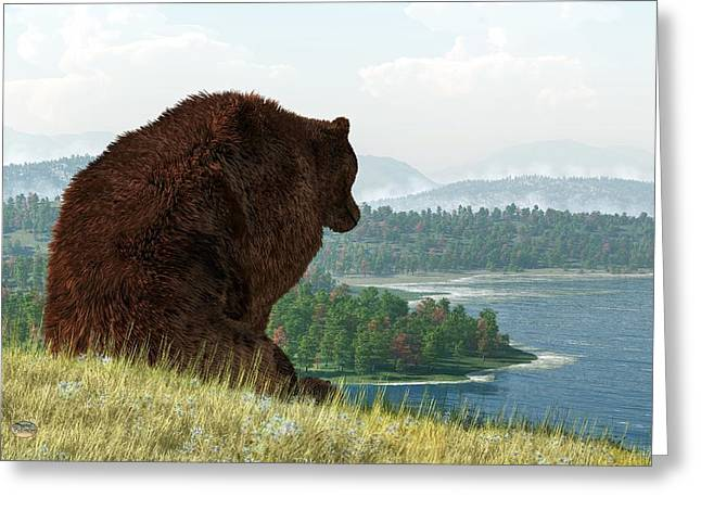 Grizzly Bear Lake Greeting Card by Daniel Eskridge