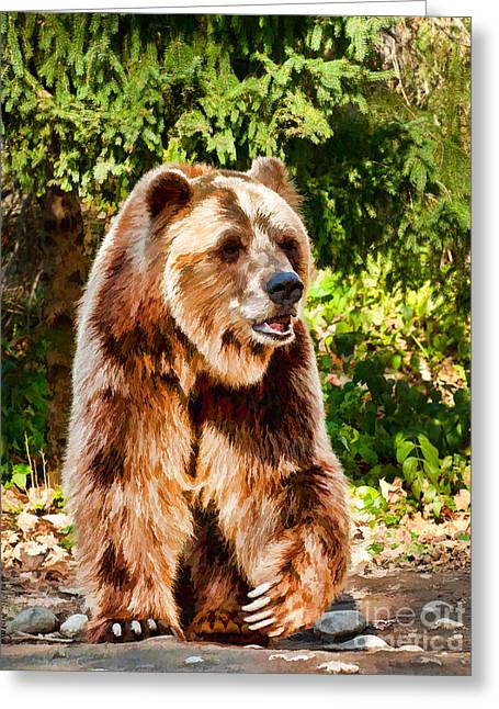 Grizzly Bear - Painterly Greeting Card by Les Palenik