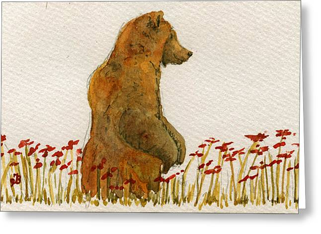 Grizzly Brown Bear Flowers Greeting Card