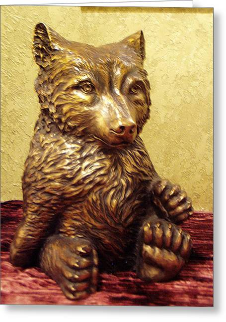 Grizzly Cub Bronze Greeting Card