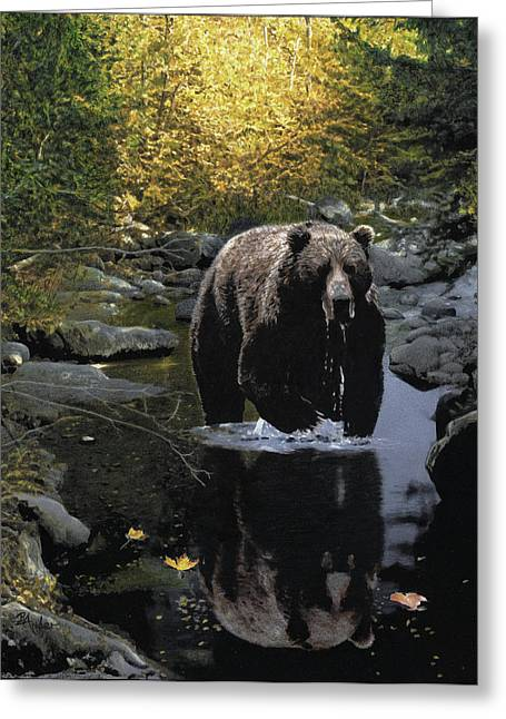 Grizzly Reflection Greeting Card