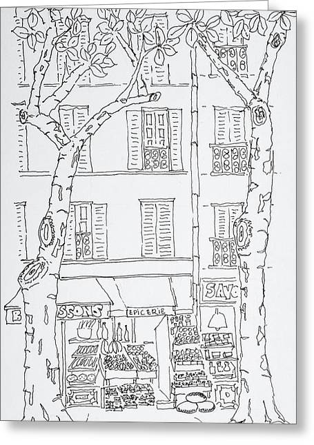 Grocery Store Along Rue Brea, Paris Greeting Card