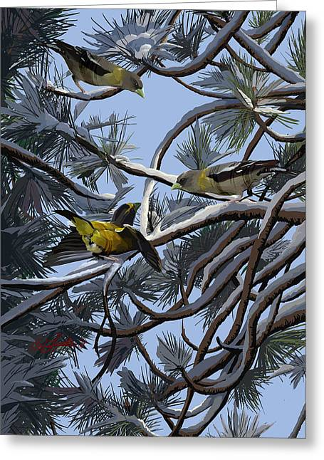 Grosbeaks On Tree Limbs Greeting Card