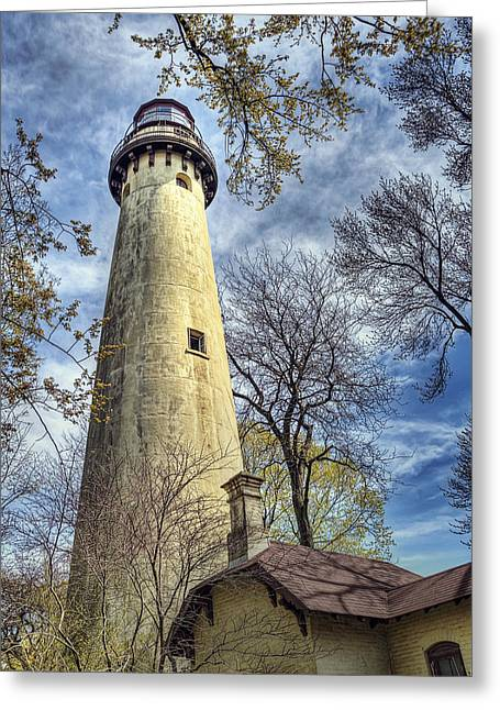 Grosse Point Lighthouse Color Greeting Card by Scott Norris