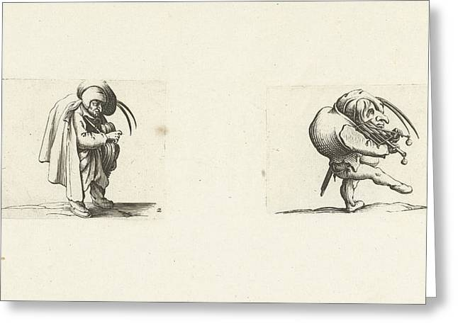 Grotesque Figure With Hurdy-gurdy Dwarf With Grill And Sword Greeting Card by Jacques Callot And Abraham Bosse