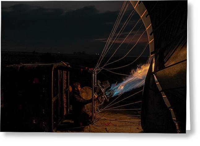 Ground Crew Preparing A Hot Air Balloon Greeting Card by Photostock-israel