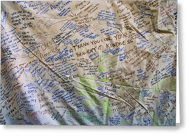 Ground Zero Tribute Banner Greeting Card by Allen Beatty