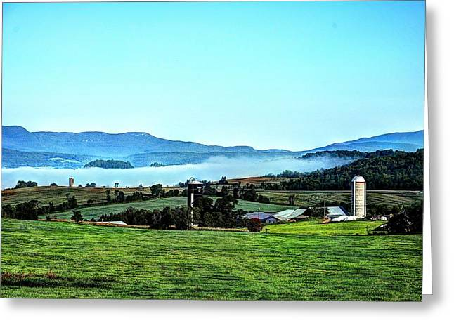 Groundfog Silos Greeting Card by John Nielsen