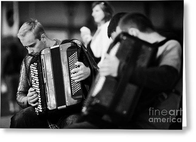 Group Of Accordion Players During Street Performance In Rynek Glowny Town Square Krakow Greeting Card